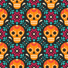Dia de los Muertos. Vector seamless pattern with Mexican sugar skulls and flowers. Isolated on black backgroun