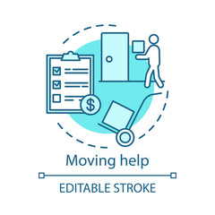 Moving help concept icon. Home service idea thin line illustration. Loading items, furniture into truck. Heavy lifting. Packing and unpacking boxes. Vector isolated outline drawing. Editable stroke
