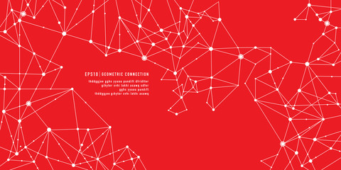 red Geometric connection background Wall mural