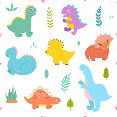 Cute seamless pattern with dinosaurs. Vector background with funny animals for children and kids