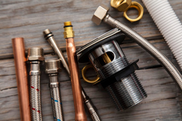 Home improvement background with plumbing tools and equipment