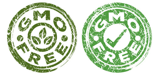 GMO Free stamps in dark green and bright green colors. Grunge texture. Vector illustration.