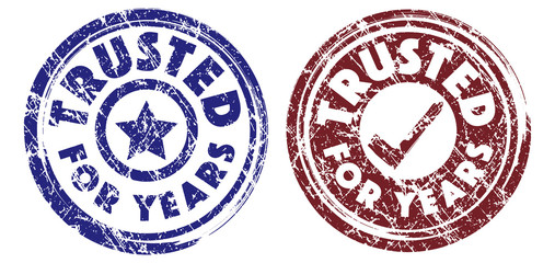 Trusted for years stamps in dark blue and brown colors. Grunge texture. Vector illustration.