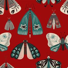 Folk Art Seamless Pattern With Moths.