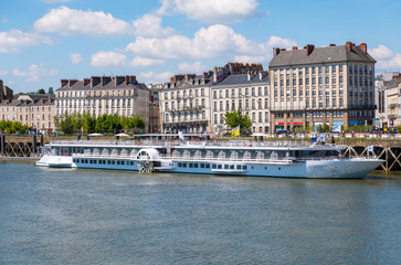 The cruise ship Loire Princess moored during a stopover in Nantes, France