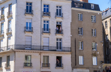 View historic buildings in downtown of Nantes, France