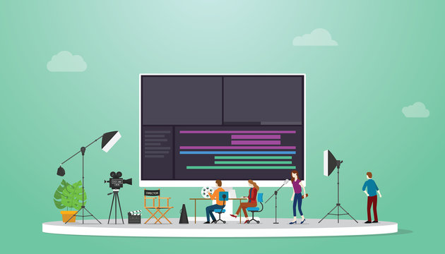 movie or video production concept with team video editor with some tools to edit videos with modern flat style - vector