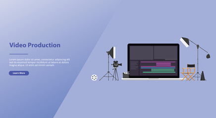 movie or video production concept with team video editor with some tools to edit videos with modern flat style for website template or landing homepage banner - vector Wall mural