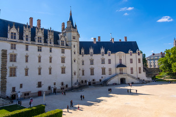 View of Square of Castle of Brittany Duke's. The castle now houses the Nantes History Museum