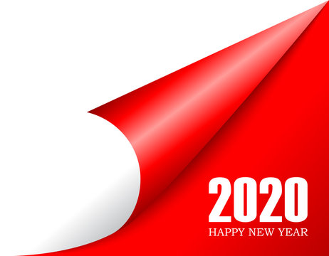 Curled paper corner 2020 new year