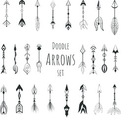Doodle boho arrows vector set, hand drawn icons.
