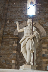 Sculpture in front of altair at Volterra cathedral, Tuscany, Italy