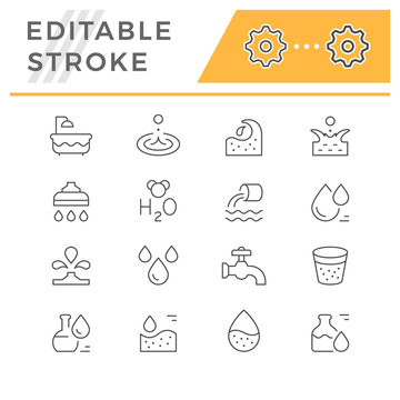 Set editable stroke line icons of water