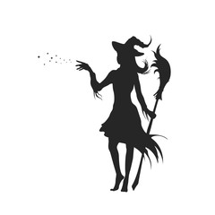 Black silhouette of witch with hat. Halloween party. Isolated image of conjuring sorcerer. Young mage with broom. Elegant withard