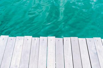 wood floor with ocean sea