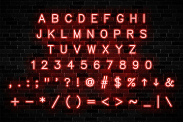 red neon signs capital letters, numbers and symbols on dark brick wall background. modern vector alphabet easy to edit and customize. eps 10