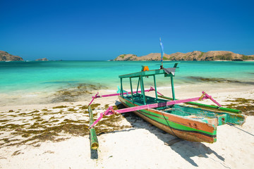 Fishing boat on Tanjung Aan Beach - Lombok, Indonesia.