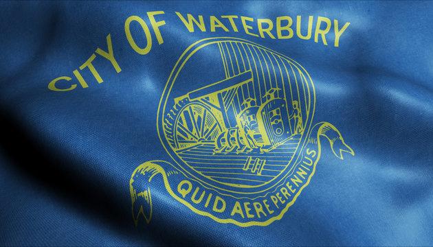 3D Waving Flag of Waterbury City Closeup View