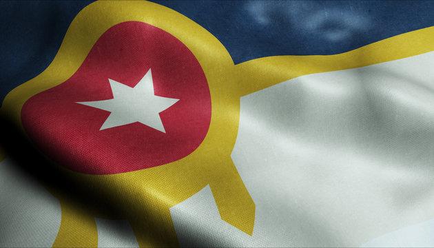 3D Waving Flag of Tulsa City Closeup View