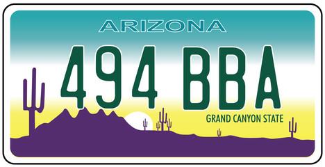 Vehicle registration plates of Arizona