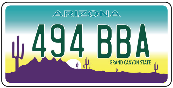 Vehicle registration plates of Arizona