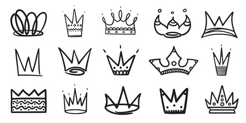 Monochrome abstract crowns on white. Hand drawn simple objects. Line art. Black and white illustration