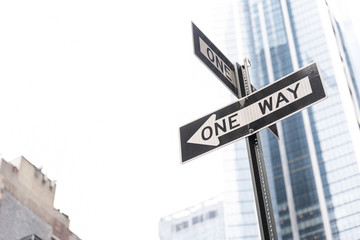 One way road sign in the city