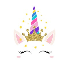 Unicorn queen card vector illustration. Magic pretty equine face with closed eyes with long eyelashes in joy. Happy mythical animal with glittery crown flat style concept. Isolated on white background