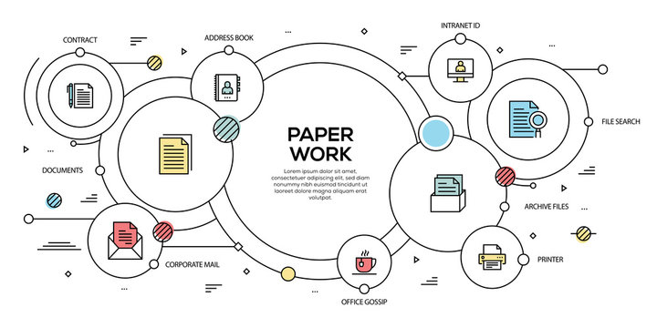 PAPER WORK VECTOR CONCEPT AND INFOGRAPHIC DESIGN