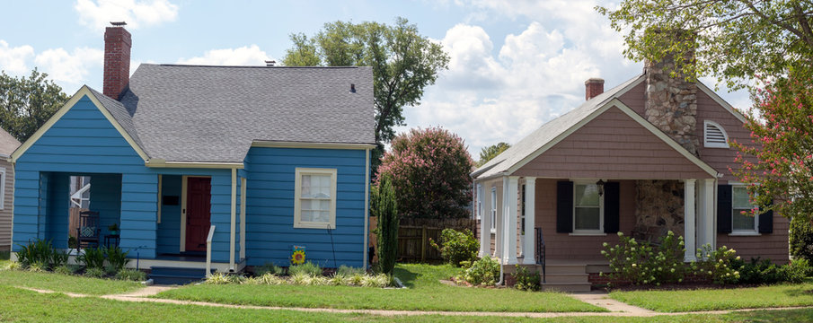 Working class bungalow homes in residential neighborhood.