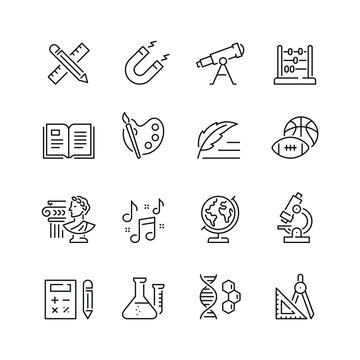Education related icons: thin vector icon set, black and white kit