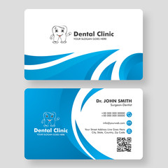 Front and back view of business card or visiting card design for Dental Clinic.
