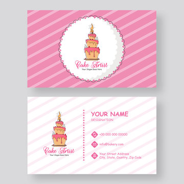 Front and back view of business card or horizontal template design for Cake Artist.