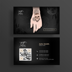 Tattoo Artist business card or horizontal template design in front and back view.