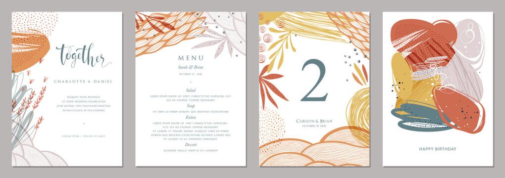 Invitation, menu, table number card design.