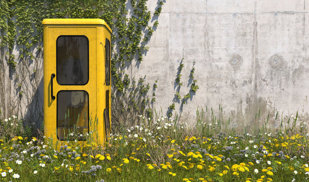 Single old yellow phone booth in retro style in an abandoned place with grass, overgrown with weeds and wildflowers on a summer sunny day. 3D render.
