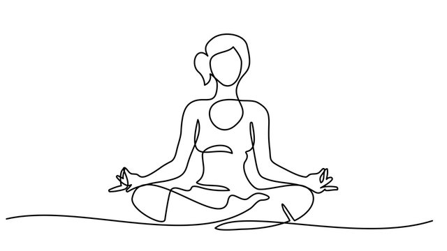 line drawing Woman sitting cross legged meditating