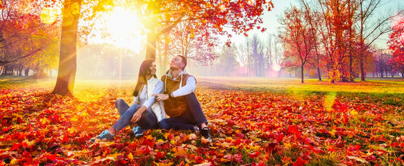 Happy Couple Enjoying The Fall Season