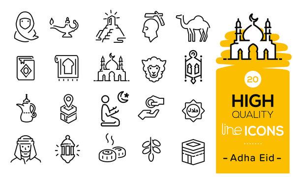 Adha eid icons set including eid items, sweet, lamp, muslim, prayer, hajj process, praying icons, eid sheep, mosque, traditions symbols and Arabian items.