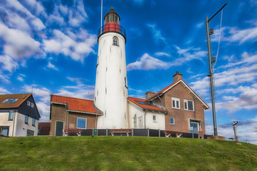 Close-up of the lighthouse of Urk at the Dutch Ijsselmeer..