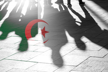 Algeria Flag and Shadows of People as citizens of Country, conceptual Picture