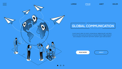 International business - line design style isometric web banner