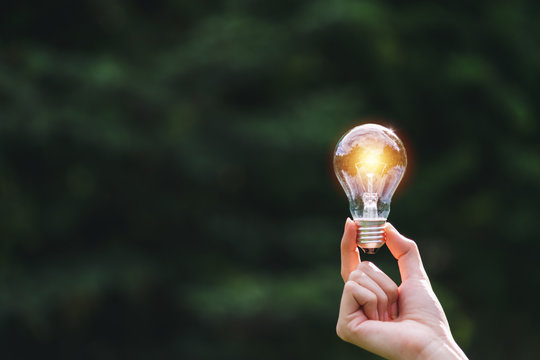 Hand of person holding light bulb on the nature background for solar,energy,idea concept.