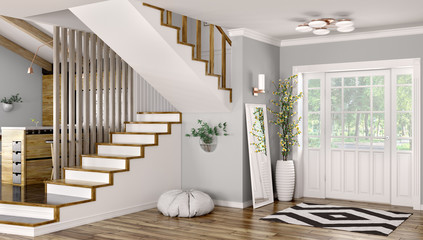 Interior of modern hall with staircase 3d rendering Fotomurales