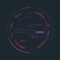 Futuristic aim system overlay vector illustration. Connections and circles. Future information and scope aiming. Radar or targeting system overlay. Visual geometric structure, data with digits.