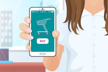 Buy online application for purchasing products from websites. Mobile cell phone in hands of woman, digital era and commerce via internet shops vector
