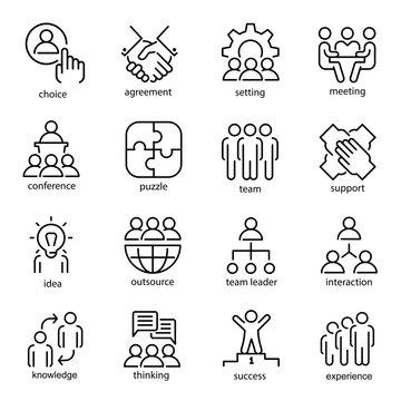 Team work line art icon set, business group symbol