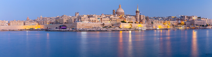 Valletta Panoramic view of the city and the bay at sunset.