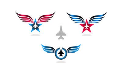 Logo design concept of star with wings and F16 fighter jet