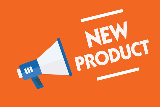 Word writing text New Product. Business concept for goods and services that differ in their characteristics Megaphone loudspeaker orange background important message speaking loud